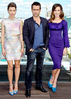 Jessica Biel, Colin Farrell and Kate Beckinsdale promoted Total Recall in Berlin Aug. 13.