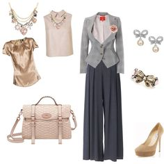 Pink & Gray Vintage Look, created by laura-truitt.polyvore.com