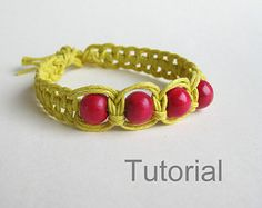 bracelet pattern macrame tutorial pdf tuto jewelry instructions knot diy handmade tutoriel knot easy step by step Christmas how to micro makrame knotonlyknots adjustable green purple beads Xmas knotted instant download beginner jewellery  Welcome to my shop.  INSTANT DOWNLOAD MACRAME BRACELET PATTERN AND TUTORIAL  This listing is for an 11 page PDF PATTERN and tutorial, with clear step by step instructions and photos, for a macrame knotted bracelet You must have Adobe Acrobat Reader…