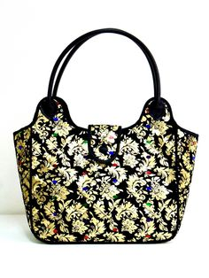 Welcome to Thai Luxury Handmade Unique Silk Fabric Tote Bags Tote Bags Handmade, Handmade Handbags, Fabric Tote Bags, Gold Purses, Thai Art, Gold Handbags, White Handbag, Silk Fabric, Bag Making