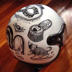 pinterest.com/fra411 #bike #art #helmet painting II by Ilya Kutoboy, via Behance
