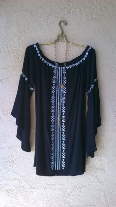 Image of Surf Gypsy black and ivory embroidered Juliet off shoulder gypsy dress