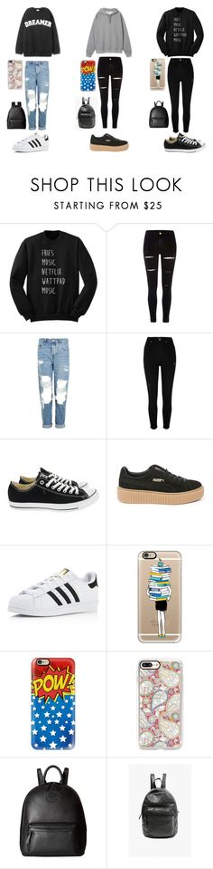 """""""overthinking sucks"""" by withered-ros ❤ liked on Polyvore featuring River Island, Topshop, Converse, Puma, adidas, Casetify, Tory Burch, BAGGU and MCM"""