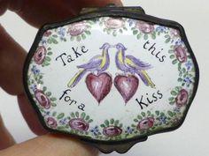 Old TAKE THIS FOR A KISS Bird & Heart Limoges Paris France Porcelain Trinket Box #Limoges