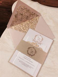 Items similar to Blush & Gold Wedding Invitations, Victorian Wedding, Blush, Gold, Lace Wedding Invitations on Etsy Royal Wedding Invitation, Quince Invitations, Vintage Rose Gold, Blush And Gold, Etsy App, Marry Me, Our Wedding, Decorative Boxes, Wedding Inspiration