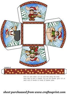 Christmas moose small gift basket on Craftsuprint designed by Sharon Poore - Christmas moose small gift basket - Now available for download!