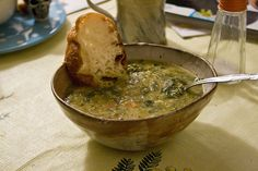 Easy & Elegant French Lentil Soup With White Wine & Fresh Thyme by Erica Leibrandt, elephantjournal: Good enough for company. #Soup #Lentil #Vegan #Healthy #Easy