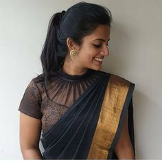Drool Worthy Latest Blouse Designs - The List Will Amaze You - happymood New Saree Blouse Designs, Netted Blouse Designs, Blouse Designs Catalogue, Simple Blouse Designs, Stylish Blouse Design, Bridal Blouse Designs, Blouse Back Neck Designs, Blouse Styles, Latest Blouse Designs
