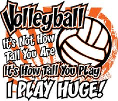 Volleyball, it's not how tall you are, it's how tall you play. I play huge!