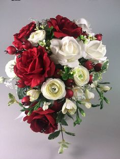 asevish Winter wedding bouquet ~Rose bouquet ~ Red white bouquet ~ Christmas bridal bouquet ~ Red we Boquette Wedding, Red Bouquet Wedding, Bride Bouquets, Wedding Flowers, Wedding White, Wedding Things, Wedding Table, Wedding Stuff, Wedding Ideas