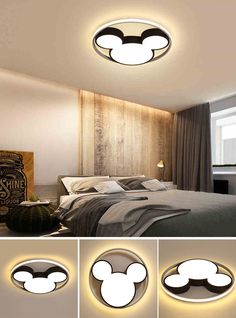 Modern Black Cool Kid Room Dimmable LED Mickey Ceiling Light for Baby Room Kid's Room Led Flush Mount, Flush Mount Ceiling, Led Ceiling Lights, Ceiling Lamp, Cool Kids Rooms, Baby Room, Mid-century Modern, Cool Stuff, Bed