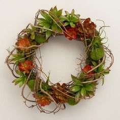 One of my favorite discoveries at WorldMarket.com: Faux Succulent Wreath