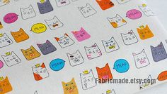 Colorful Fortune Cat Fabric Cute Cat Cotton Linen by fabricmade