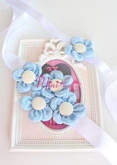 Mavi puantiye çiçekli sıralı hamile kemeri