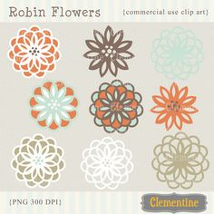 New to ClementineDigitals on Etsy: Flower clip art images royalty free images - robin- Instant Download (5.00 USD)