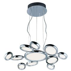 Timbale - 32 11 LED Pendant Polished Chrome Finish with White Glass Maxim Lighting, Cool Lighting, Pendant Lighting, Chandelier, Lighting Ideas, Multi Light Pendant, Lumiere Led, Light Bulb Types, Dining Room Lighting