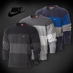 Nike Sweatshirt Mens Three Color Panel Crew Neck Fleece Lined Top Jumper 362811 | eBay