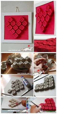 """Pour la St-Valentin qui approche, je vous propose nos bricolages de St-Valentin """"Coups de coeur""""! Ce sont des bricolages à réaliser avec vos enfants, pour vos enfants ou tout simplement pour décorer votre maison! :) Un coeuravec des cartons d'oeufs! Vous avez certainement une boîte d'oeufs sous la main ou qui s'apprête à être vide dans"""