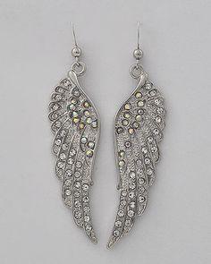 New Silver Tone Angel Wings Earrings w/Rhinestones$13.95