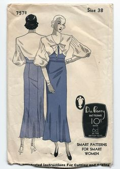1930s Vintage Sewing Pattern Dubarry 757 B Evening Gown Frock Dramatic Sleeves
