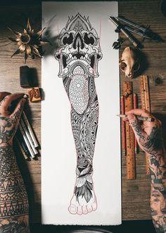 Geometric Sleeve Tattoo, Leg Sleeve Tattoo, Leg Tattoo Men, Best Sleeve Tattoos, Tattoo Sleeve Designs, Tattoo Designs Men, Geometric Tattoos, Full Leg Tattoos, Black Tattoos