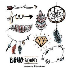 Bocetos de elementos en estilo boho Vector Gratis
