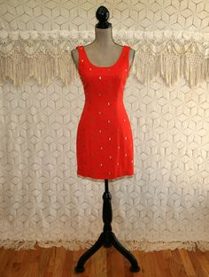 80s 90s Vintage Mini Dress XS Sleeveless Linen Sheath Fitted