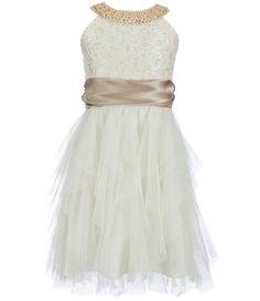 122901c2cc8 Rare Editions Big Girls 7-16 Beaded Neck Cascading Skirt Dress Dresses Kids  Girl