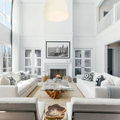Room redo: All white modern open concept living room with fireplace. All white modern open concept living room with fireplace. I love how airy and open this living room look is with its high ceiling, white sofa and sleek contemporary furniture. Navy Living Rooms, Coastal Living Rooms, Living Room Modern, Living Room Sofa, Small Living, High Ceiling Living Room, Living Area, Classy Living Room, Spacious Living Room