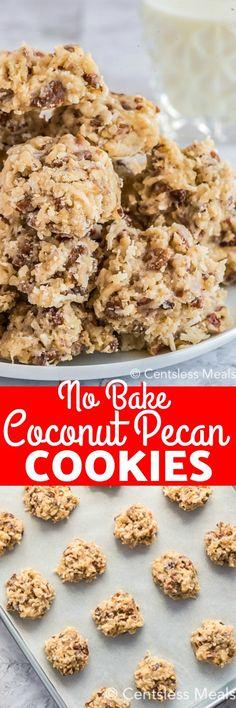 No Bake Coconut Pecan Cookies recipe - CentsLess Meals Coconut Pecan Cookie Recipe, Pecan Cookie Recipes, Coconut Desserts, Coconut Cookies, Coconut Recipes, Cookie Desserts, Yummy Cookies, Candy Recipes, Fun Desserts