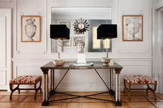 For an awkward wall.  Good symmetry, table, 2 lamps, 2 framed prints, 2 stools, calming