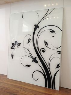 fused glass in black and white as a splashback - Google Search