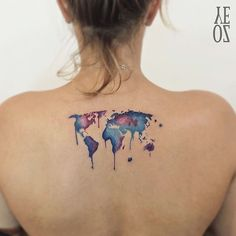 Original World Map  Artist:@yelizozcan_tattooer by inspirational_tattoos_ideas