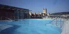 Visit the roof top pool at the Thermae Spa during a hen weekend in Bath