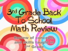 Review of 2nd grade math for the first week of third grade!