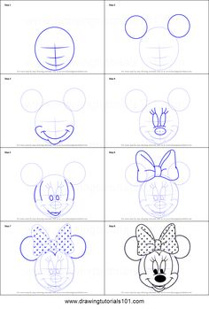 How to Draw Minnie Mouse Face from Mickey Mouse Clubhouse Printable Drawing Sheet by DrawingTutorials101.com