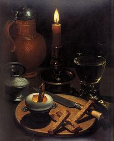 Gottfried von Wenedig ( Cologne 1583 – 1641 ) , Nature morte à la bougie, vers 1630, Hessisches Landesmuseum Darmstadt