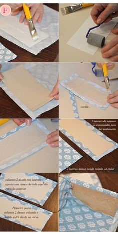 Caixinha Diy F - Diy Crafts - bobcik Fabric Covered Boxes, Fabric Boxes, Diy Gift Box, Diy Box, Cardboard Box Crafts, Paper Crafts, Diy Decoupage Projects, Creative Box, Diy Origami