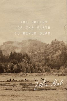 """""""The poetry of the earth is never dead."""" John Keats $15"""
