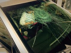 Windshield damaged by baseball sized hail in Stanton, Mo  4/8/15
