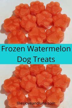 An easy way to make your dog a frozen treat for warm days. Dog Treat Recipes, Dog Food Recipes, Cooking Recipes, Doggie Treats, Homemade Dog Treats, Essential Oils Dogs, Frozen Dog Treats, Frozen Watermelon, Summer Potluck