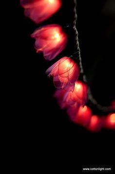 20 Purple tulip Flower handmade string light lantern hanging indoor patio garland wedding party. $16.90, via Etsy.