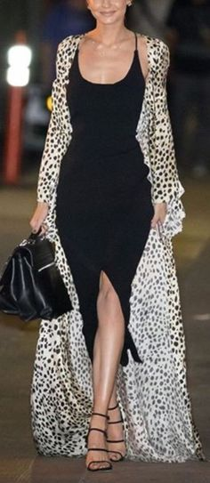 Leopard maxi dress worn as maxi cardigan. This is fabulous!