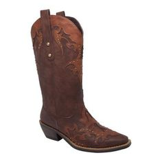 These western boots will make you the talk of the town. Featuring inlay accents and studs to create a fashionable look while still retaining the western feel. A quality rubber outsole and comfort cushion insole to make them last, also