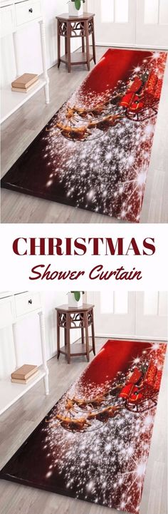 Christmas Sled Print Antislip Bath Rug