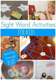 Lots of ideas that can be done at home to help children learn ABCs, sight words, and more. Items from around the house may be easily made into learning tools like the Sight Word Spider Web made from painter's tape and paper plates. Teaching Sight Words, Sight Word Activities, Literacy Activities, Activities For Kids, Educational Activities, Literacy Stations, Math Games, Learning Through Play, Fun Learning