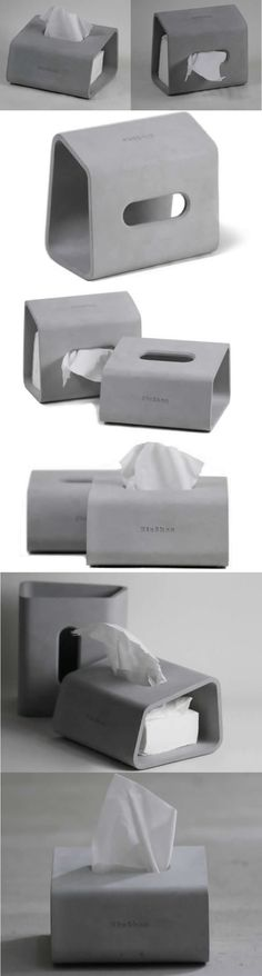 Modern Geometry Concrete Desk Tissue Box Cover Tissue Box Holder Bathroom Organization
