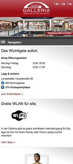 Shopping mitten im Dritten. Der Slogan der Galleria - ein Einkaufszentrum in Wien - ist auch gleichzeitig der Titel der Webseite. Steigende mobile Nutzung führte zur vernünftigsten Lösung: Responsive Webdesign. http://www.echonet.at/de/projekte/366/Galleria-Shoppingcenter-fuer-alle-Endgeraete