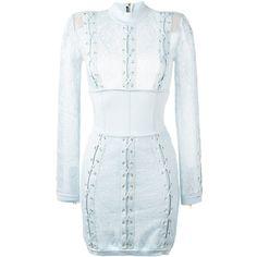 Balmain lace corset mini dress ($3,196) ❤ liked on Polyvore featuring dresses, blue, blue lace dress, lace corset, short lace dress, long sleeve lace dress and long-sleeve lace dresses