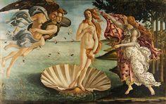 """""""O Nascimento da Vênus"""", de Sandro Botticelli, 1486.  Obra-prima de Botticelli, """"O Nascimento da Vênus"""" é uma das obras de arte mais conhecidas.   Esta requintada pintura renascentista era incomum para a época e foi inspirada em um poema antigo de Homero.   Botticelli pintou a Vênus inspirado em uma bela mulher casada, Simonetta Cattaneo Vespucci, por quem acreditava-se que havia se apaixonado."""